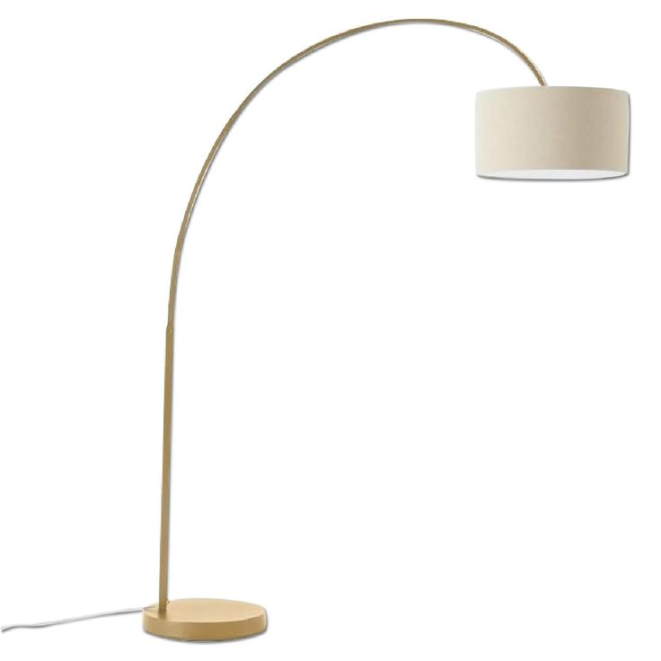 West Elm Overarching Linen Shade Floor Lamp in Antique Brass