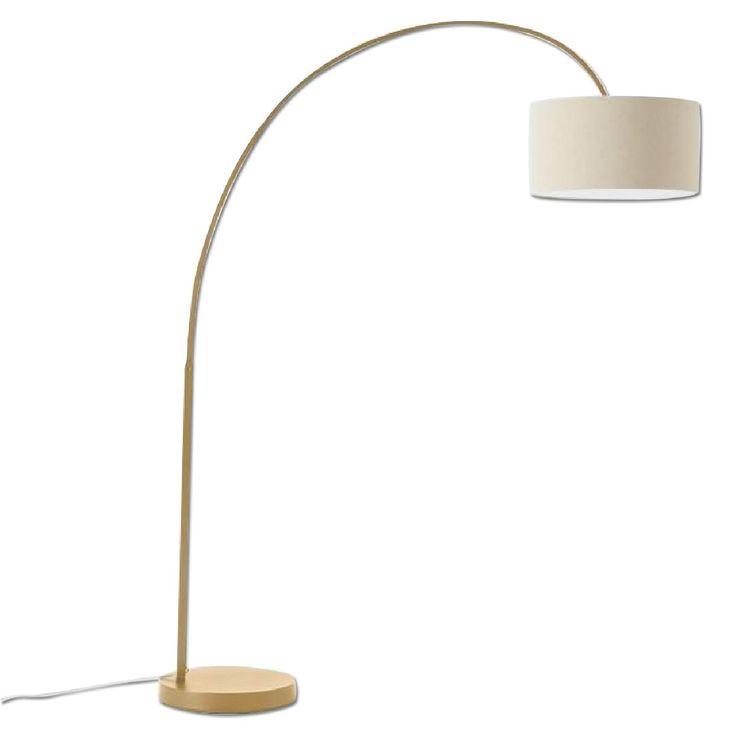 West Elm Overarching Linen Shade Floor Lamp in Antique Brass