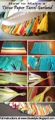 Simple tutorial for making a Tissue Paper Tassel Garland! Makes gorgeous decor for a bridal or baby shower, a birthday party, or as an addition to your seasonal decor!