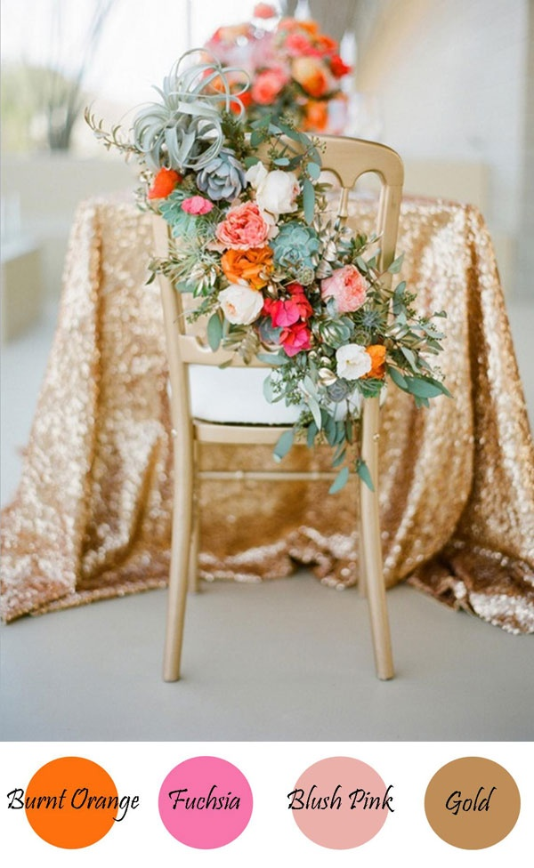 burnt orange, fushia, blush pink & gold Icing Designs