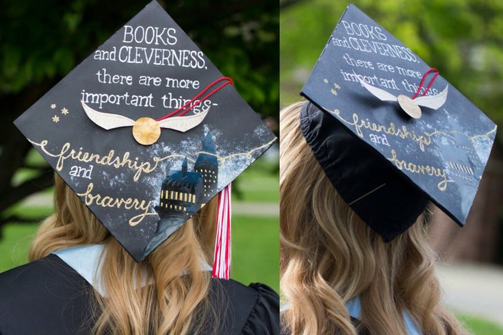 """Harry Potter Graduation Cap - Hermione Granger Quote """"Books and Cleverness, there are more important things - Friendship and Bravery."""""""