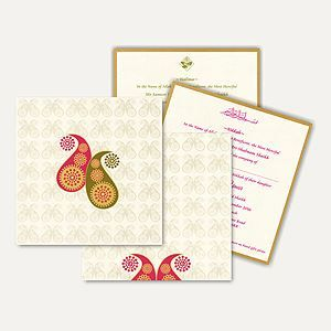 This card is made out of ivory shimmery card board with matching mailing envelope and inserts inside. Two prominent paisley designs printed on front of the card covered with same imprints all around gives it stunning look.  #IslamicWeddingCards #weddingcards #india