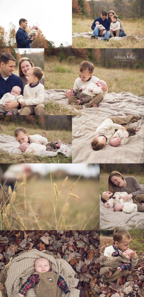 Outdoor Fall Family Newborn Photography. Newborn Photos outside. Raleigh Outdoor Newborn Photographer. Rebecca Keller Photography
