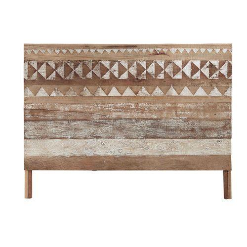 Tête de lit 160 à motifs en bois recyclé L 170 cm
