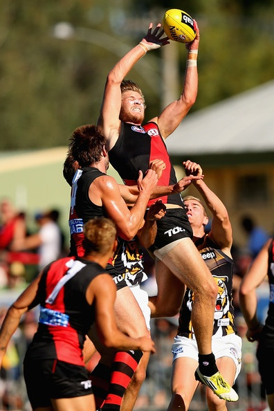 Michael Hurley of the Bombers marks during the round two AFL NAB Cup match between the Essendon Bombers and the Richmond Tigers at Wangaratta Showgrounds on March 2, 2013 in Wangaratta, Australia.