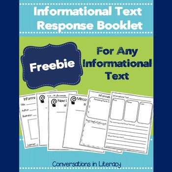 Students can use this Informational Text Response Booklet with any informational text to help them record their all of their learning. Makes a great way to display student learning!Students fill out their booklet as they read their informational texts.