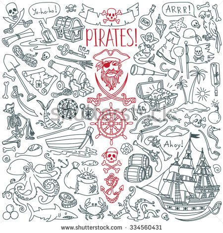 Pirates themed freehand drawings set. Symbols of piracy - pirate hat, swords, guns, treasure chest, ship, black flag, jolly roger emblem, skull and crossbones, compass, pirate costume elements - stock vector