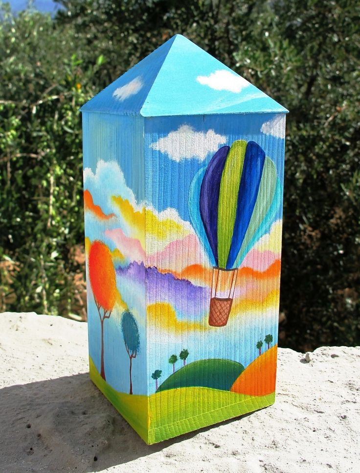 air balloon wooden money box www.facebook.com/SofiaFileasArt