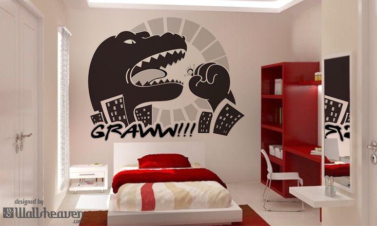 Interior design - Dangerous black and white Godzilla-like monster
