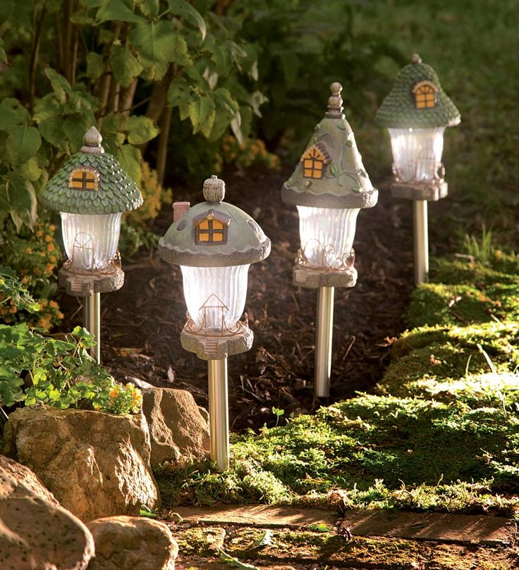Beautiful Set Of 4 Gnome Home Solar Path Lights Great Ideas