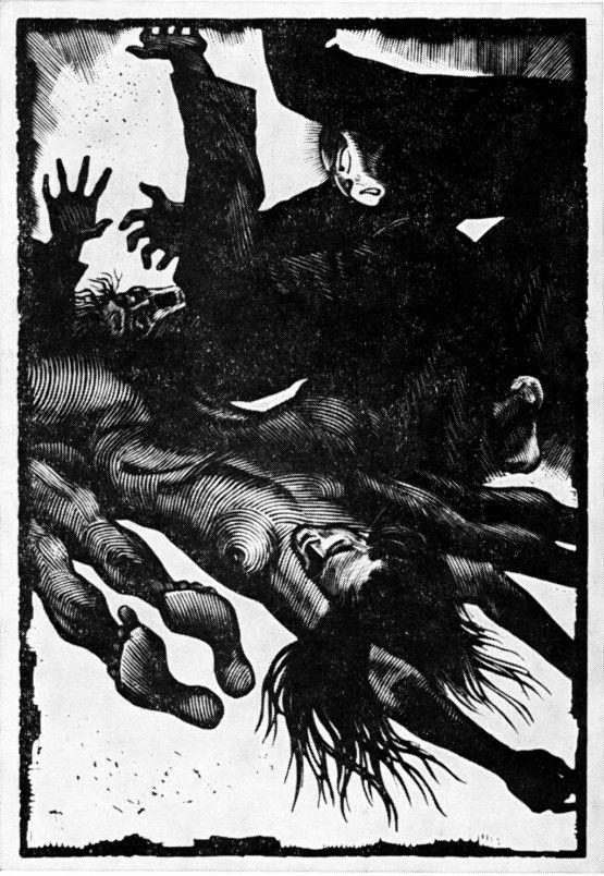"""Бисти Д.С. – Иллюстрация к книге Акутагавы Рюноскэ """"Новеллы"""". 1973"""