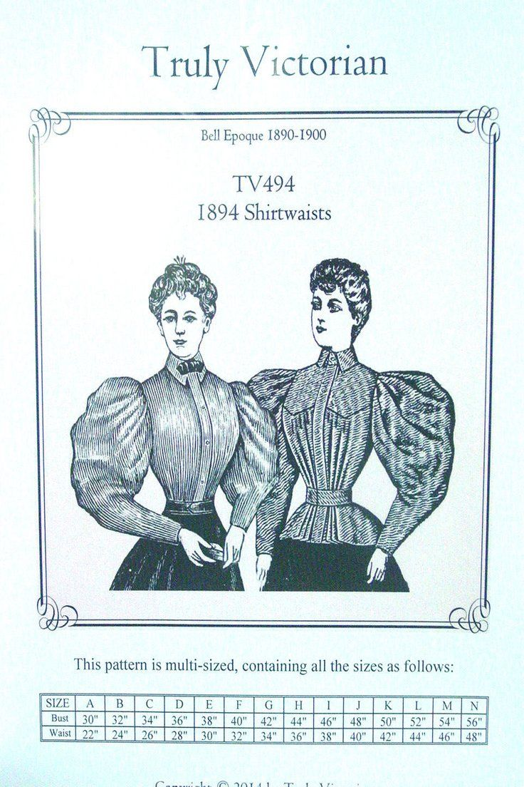 TV494 Truly Victorian Sewing Pattern for 1890/'s style Ladies blouse shirtwaist