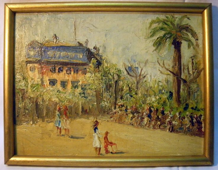 Oil on canvas, attached to a table, from the first half of the 20th century, depicting a tropical landscape. Frame in the Seventies of the 20th century. Measurements: canvas 23x18 cm, with frame 47x42 cm. Well preserved.