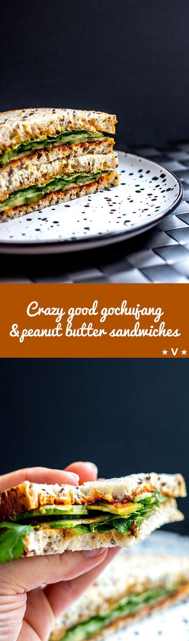 Fiery Korean gochujang and peanut butter sandwiches, an unusual but crazy good combo (vegan). via @quitegoodfood