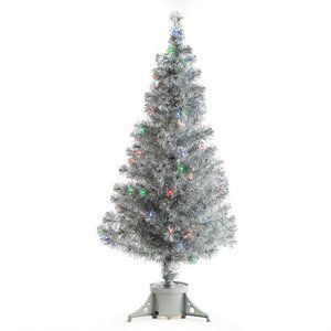 Awesome Silver Clover Medium Fiber Optic Pre Lit Christmas Tree   5 Ft.   Multicolor