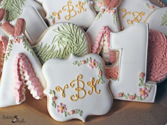 Baby's First Birthday Cookies Boho Chic Birthday by Bakinginheels