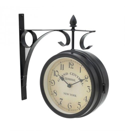 METALLIC STATION CLOCK IN BLACK 'CENTRAL' 33X9X34