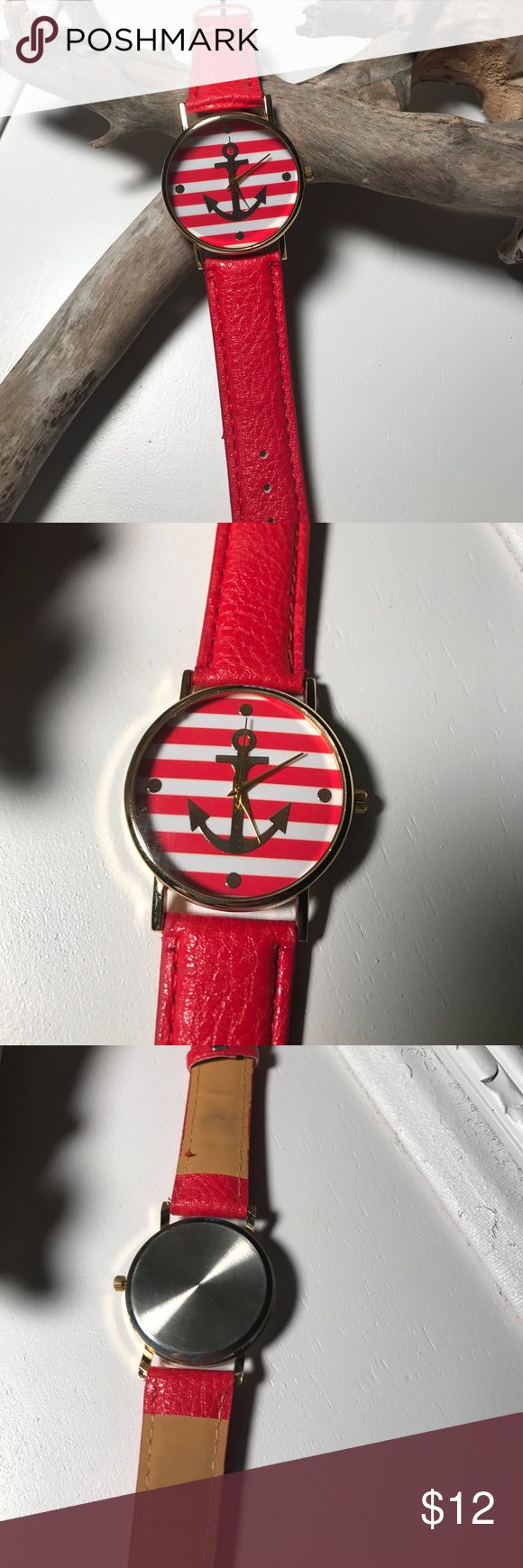 "Fashion Watch Fashion Anchor Watch with Red Band Never Worn However Some  Markings from Being on Display. Face is 1 1/2"" in Diameter Accessories Watches"