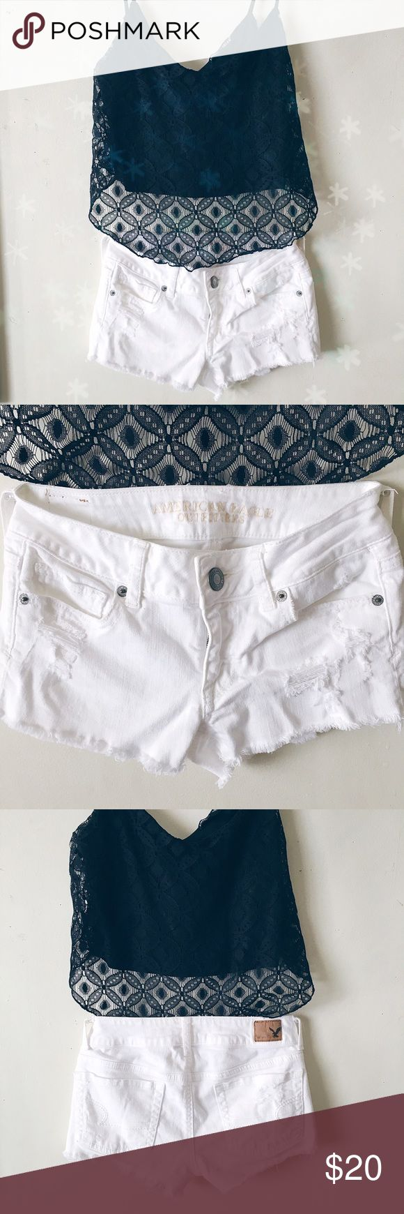 ❕SALE❕American Eagle Outfitters jean shorts White & distressed! Perfect summer shorts☀️make an offer!✌️no trades thank you☺️ American Eagle Outfitters Shorts Jean Shorts
