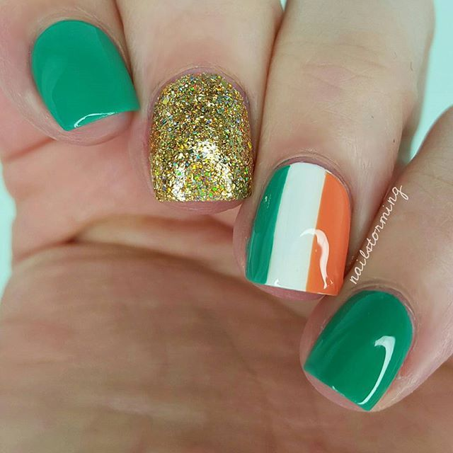 Irish Flag Nails For St. Patrick's Day