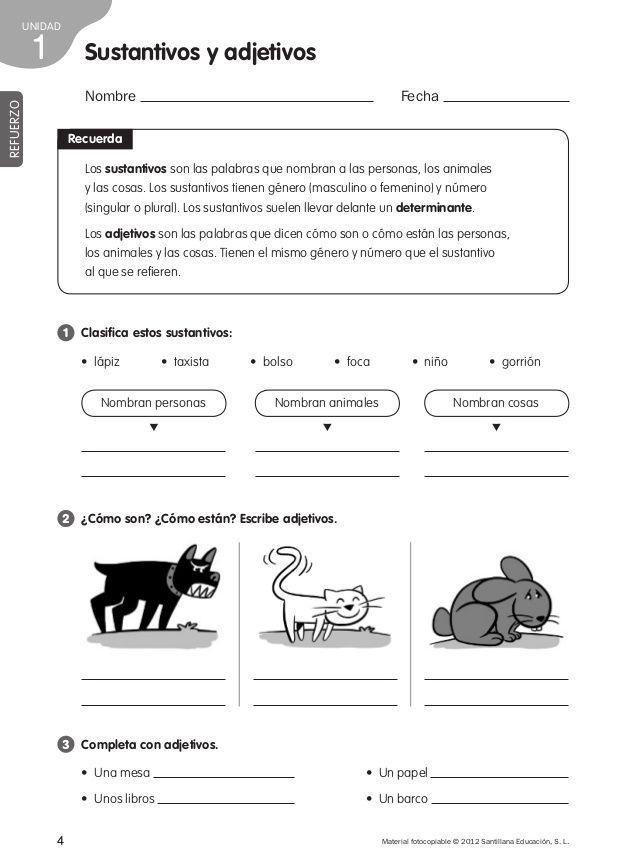 UNIDAD  4 Nombre Fecha  Los sustantivos son las palabras que nombran a las personas, los animales  y las cosas. Los sustan... #infografias #infographic