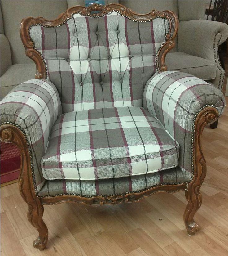 Antique Queen Ann Chair upholstered by @newbridgeupholsterydesign using Lucan Fabrics Douglas No.9 Check