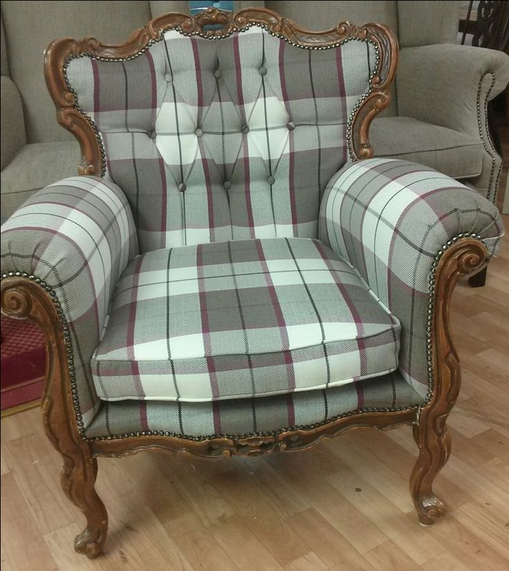 Antique Queen Ann Chair upholstered by @newbridgeupholsterydesign using Lucan Fabrics Douglas No.9 Check