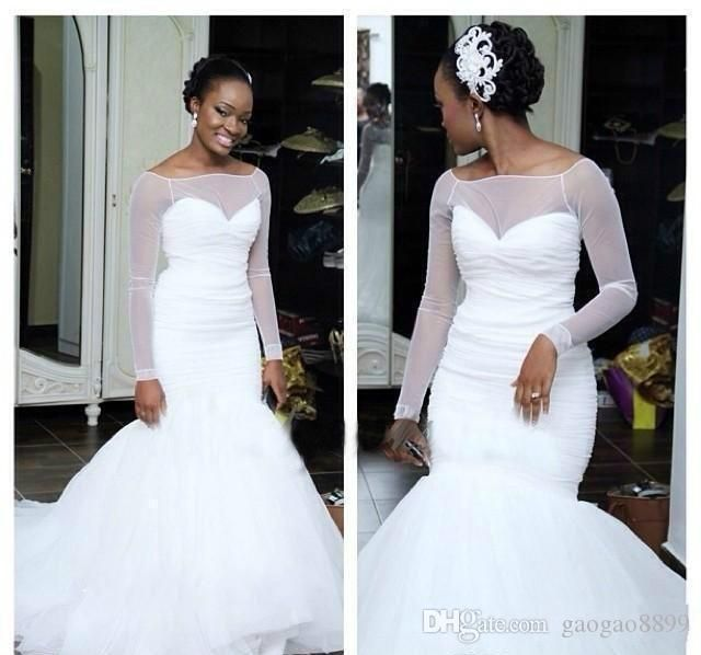 Wedding Hairstyles For Black Women African American: 2017 African Black Women Simple Mermaid Wedding Dress Long