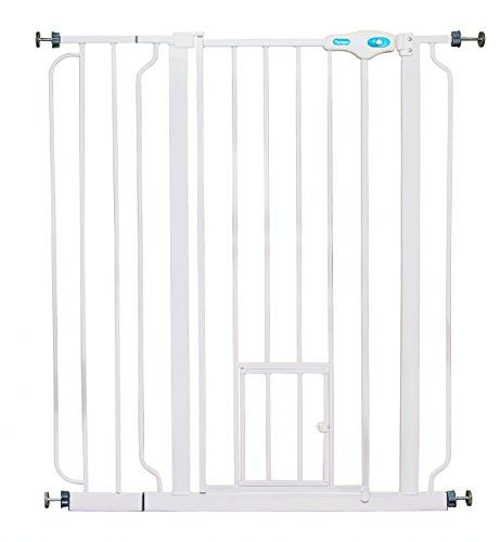 Carlson Extra Tall Pet Gate, with small pet door - Carlson Pet Products Extra Tall Metal Gate At 36 inches tall, the added height makes this gate just right for large pets and pets that like to jump. Expands from 29 to 34 inches wide. Add the included 6-inch extension and expand your gate to 37 inches wide. Convenient walk-through design has an e...