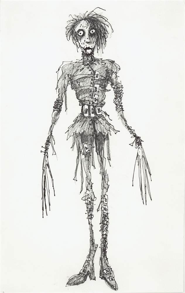 Tim Burton's concept art for 'Edward Scissorhands'.
