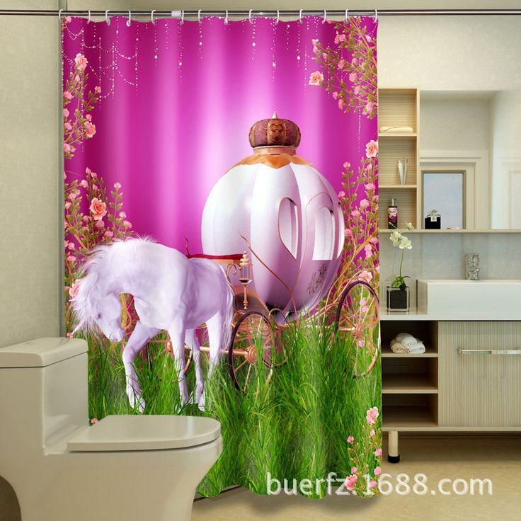 """Günstige Cartoon Weißen Pferd 3D Druck Wasserdicht Duschvorhang rosa vorhänge einzigartige duschvorhang für bad, Kaufe Qualität Duschvorhänge direkt vom China-Lieferanten: Material: polyestergröße: 70 """" by70 """" (180x180 cm)paket: ein showr vorhang mit 12 haken.merkmale1.3D digitaldr"""