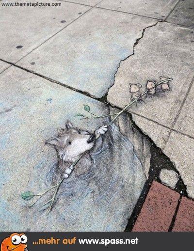 Putzige Straßenmalerei