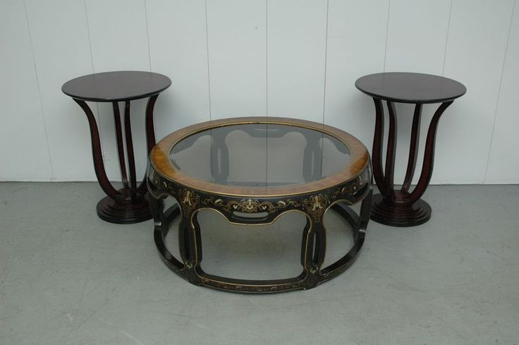 Asian Style Coffee Table With Beveled Glass And Pair Bombay Company Duncan Phyfe Style Night
