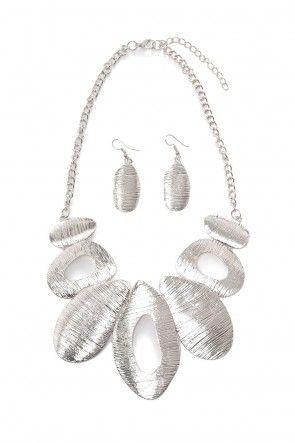 Alice Statement Necklace and Earring Set in Silver