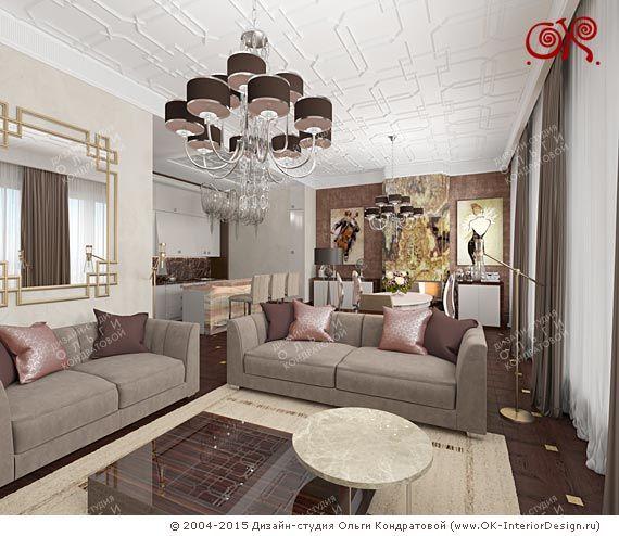 Дизайн кухни-гостиной в стиле арт-деко - http://www.ok-interiordesign.ru/ph35_design-kvartir.php