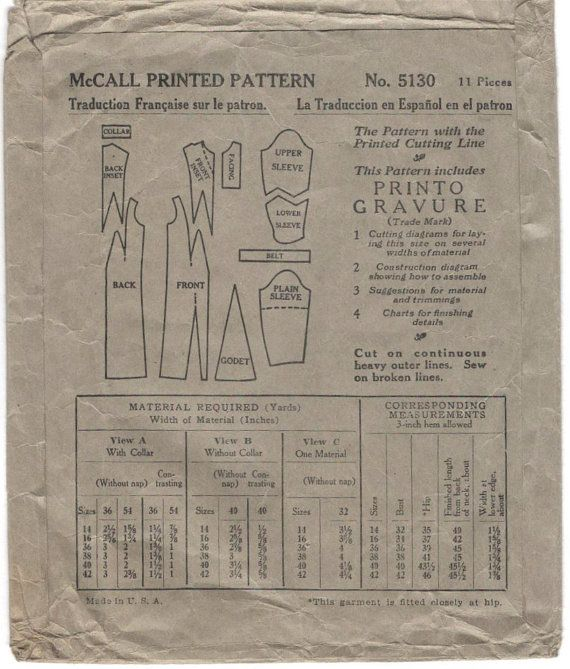 Late 1920s dress pattern with Deco contrast by PatternVault
