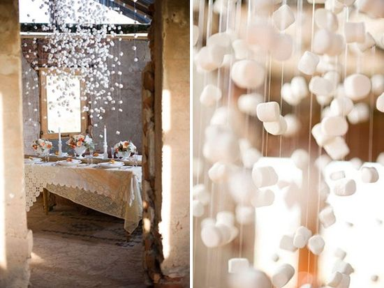 Hanging marshmallows as table decor (*would this work or is this a set-up for a giant Pinterest fail?)