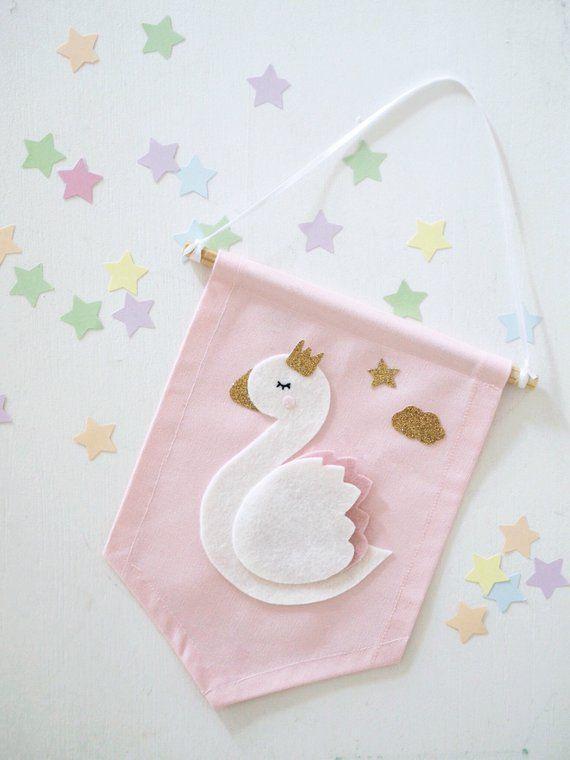 Lovely Swan Pink Flag Banner Party Christening Baby Shower Birthday Decoration