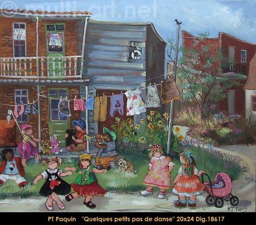 Original oil painting on canevas by Paulin Paquin #paulinepaquin #art #artist #canadianartist #quebecartist #children #dancing #originalpainting #oil #balcondart #multiartltee