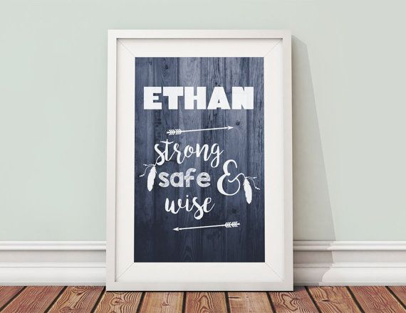 Ethan Name Meaning Printable Nursery Art 8x10 Set of by BeadyGee