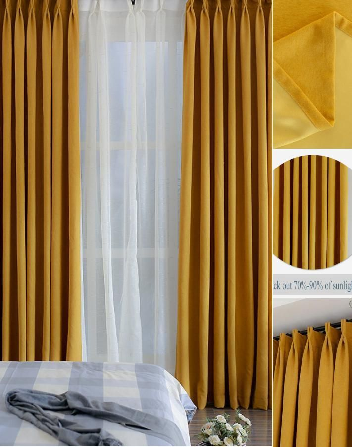 Solid Mustard Yellow Curtains Simple Minimalist Thermal Blackout Bedroom Drapes Yellow Curtains Living Room Bedroom Drapes Mustard Yellow Curtains