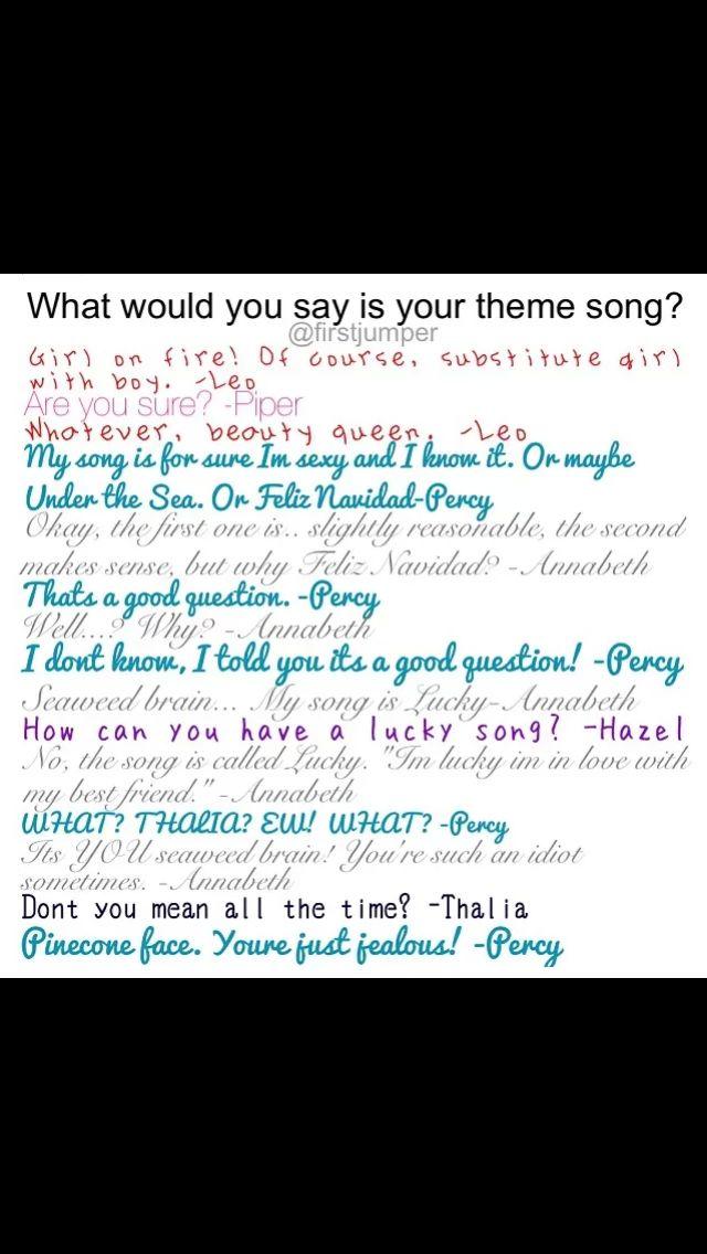 """""""Thailia? Ew!""""-Percy """"It's you Seaweed brain!!!!!!!!!!""""-Annabeth. Gotta love Percabeth.."""
