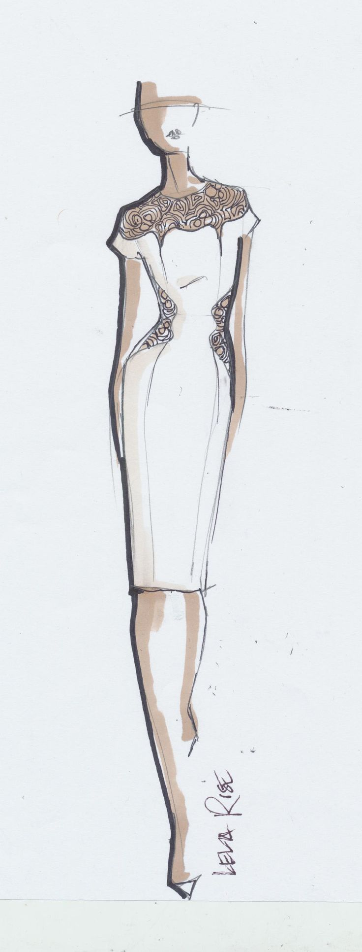 Fashion design sketch; dress drawing // Lela Rose. I like how the dress is the most detailed. Also like the watercolor.