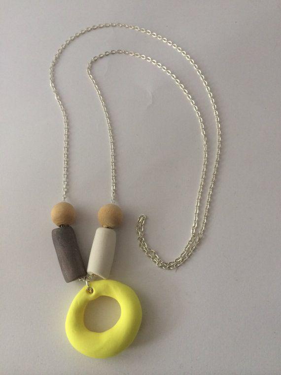 Yellow polymer clay circular charm necklace by BillyandElizabeth, $15.00