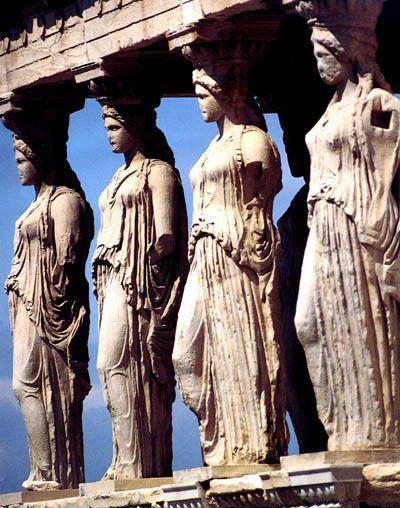 Cariatides del Erecteion. En la Acropolis de Atenas. Grecia. / Athens, Greece