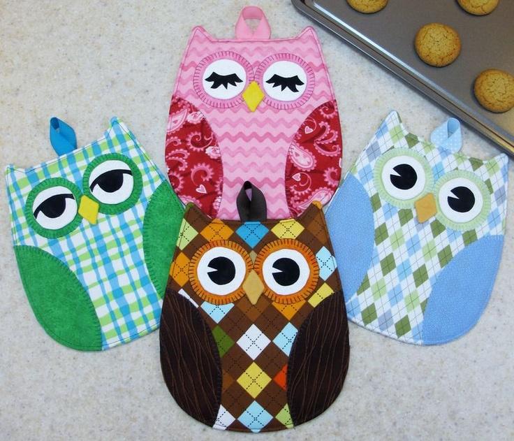 Homemade Pot Holders: Hot Who Owl Oven Mitt Potholder Pattern To Make DIY Sewing