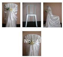 Branco / cetim cadeira / cadeira do banquete de casamento cobre / frete grátis / plástico cadeira cobre(China (Mainland))