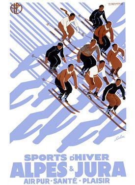 Alpes, vintage ski poster