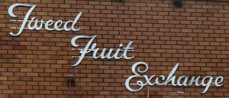 Vintage Tweed Fruit Exchange script sign - Murwillumbah NSW