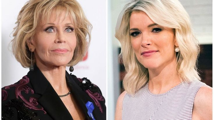 """In this combination photo, Jane Fonda appears at the 2017 ACLU SoCal's Bill of Rights Dinner in Beverly Hills, Calif., on Dec. 3, 2017, left, and Megyn Kelly poses on the set of her new show, """"Megyn Kelly Today"""" in New York on Sept, 21, 2017. Kelly says Jane Fonda """"has no business lecturing anyone on what qualifies as offensive"""" after the actress criticized her for bringing up the subject of plastic surgery in an interview last September."""